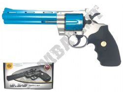 G36 Spring Powered 6 Shot Revolver Airsoft BB Gun 2 Tone Silver Blue